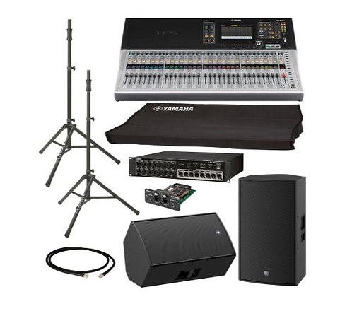 Yamaha TF5-DZR15-DEMO-K PA System Bundle with Digital Mixer, Active Speakers, St