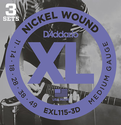 D`Addario EXL115-3D 3 Pack of Blues/Jazz Rock XL Electric Guitar Strings