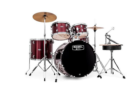 Mapex RB5294FTCDR Rebel 5-Piece Drum Set w/ Hardware & Cymbals - Dark Red w/ 22""