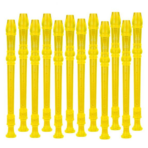Ravel - 12 Pack Transparent Yellow Recorders w/ Cleaning Rod & Bag