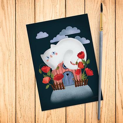 Carte postale Chat blanc