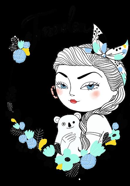 irinché, irinche, illustration, visual identity, logo, identité visuelle, produits textiles, fille, girl, vintage, femme, jouet, fleurs, nounours, bordeaux