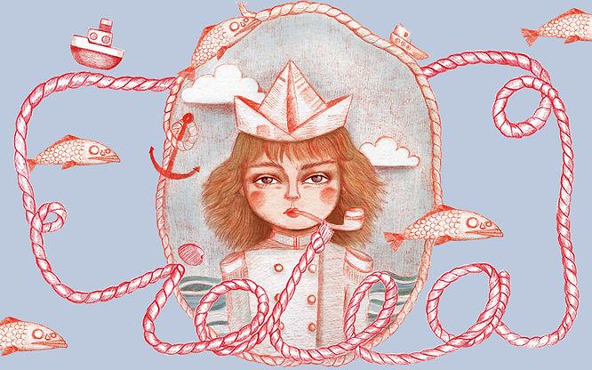 irinché, irinche, illustration, affiche, visuel, web, ideacrea, fille, capitaine, vintage, mer, océan, sea, ocen, girl, captain