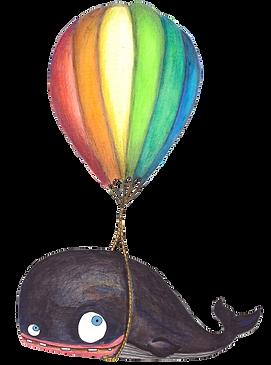 irinché, irinche, illustration, baleine, rêves qui se réalisent, ballon, montgolfière, whale, baloon, dreams come true, kids, children, enfant