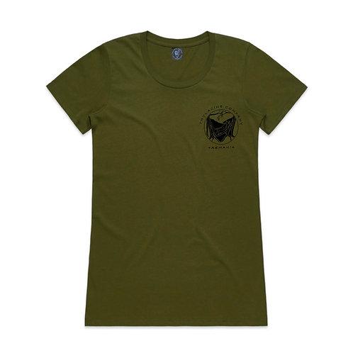 In To The Wild Ladies Slim Fit Tee - Fern Green