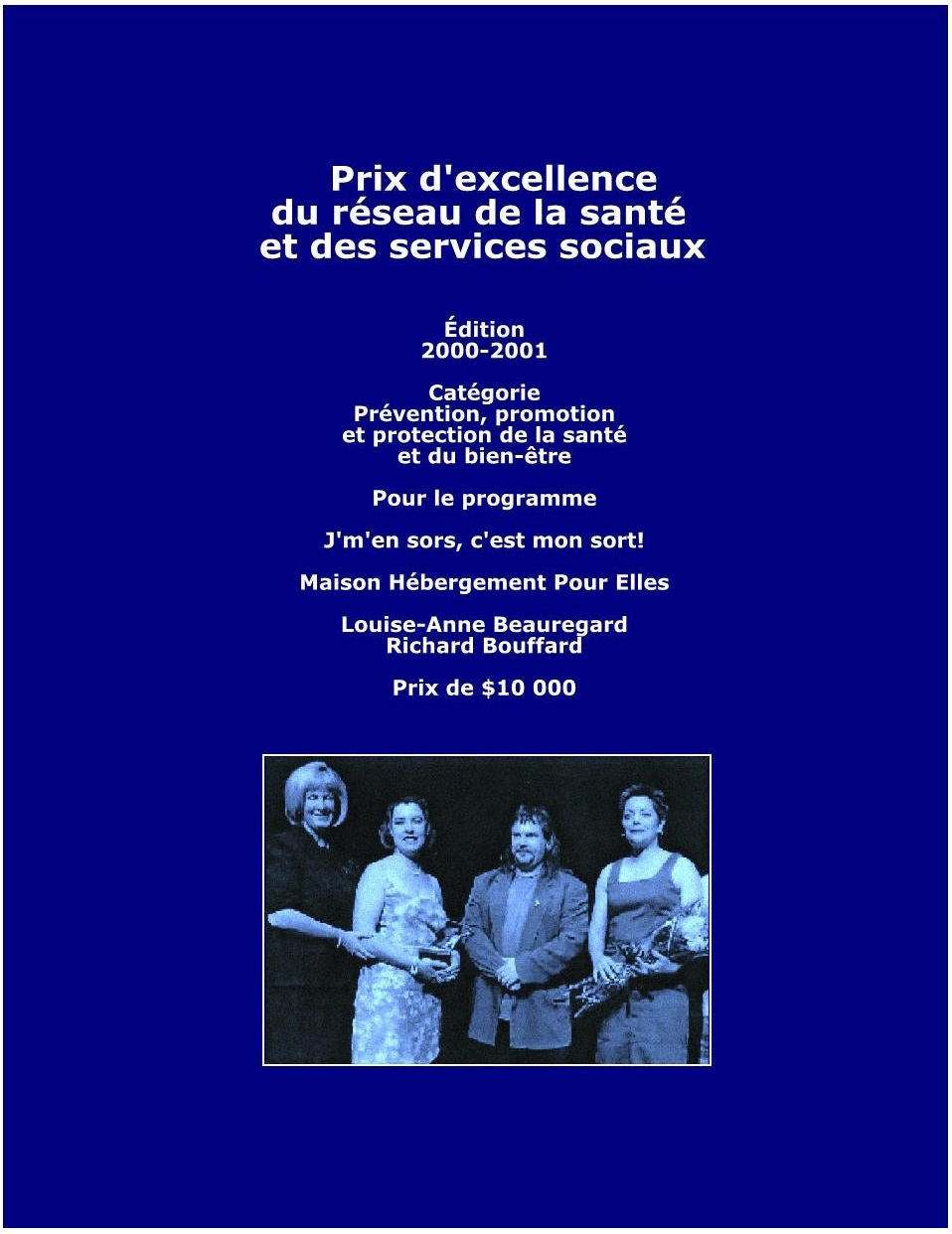 Prix excellence 2001