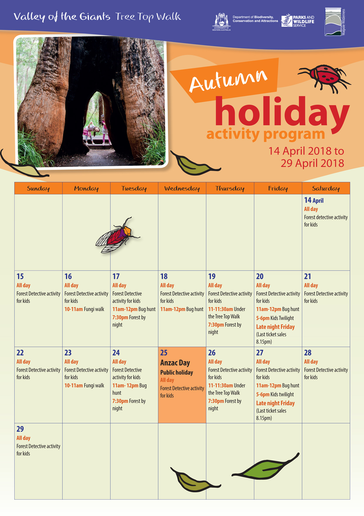 Autumn holiday activity program 2018