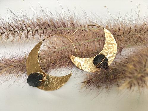 Crescent Black Tourmaline Earrings