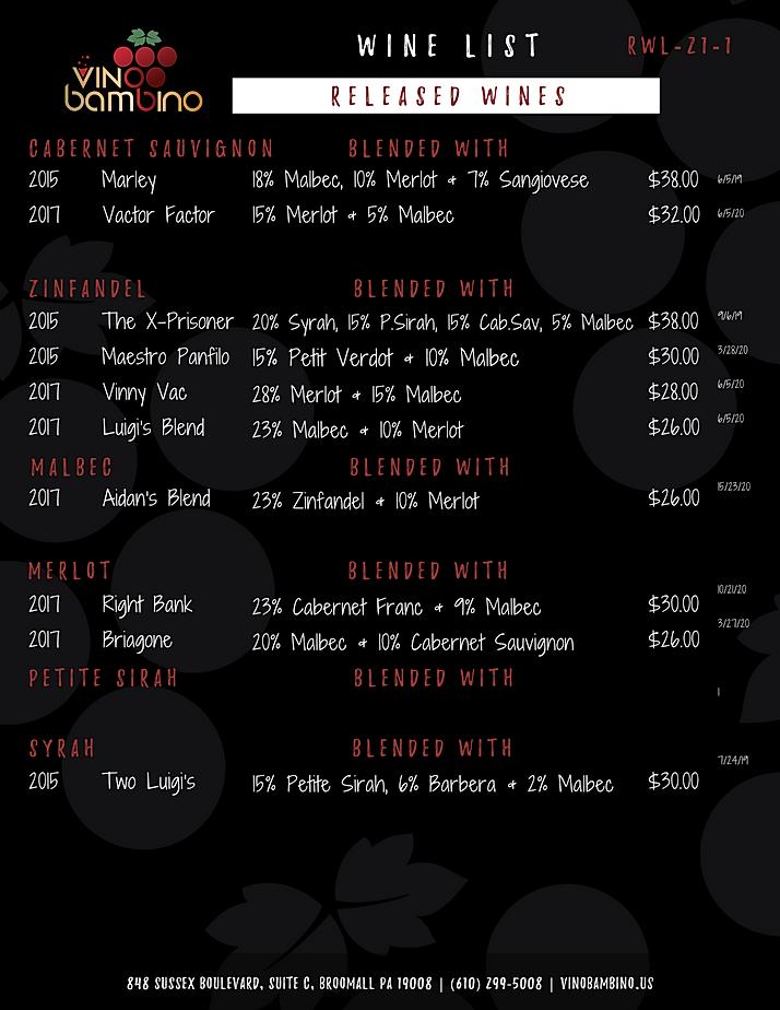 Vino Bambino Winery | Released Wines | W
