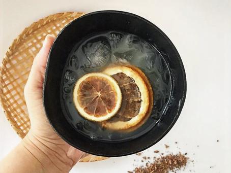 Drink com cupuaçu, laranja e priprioca.