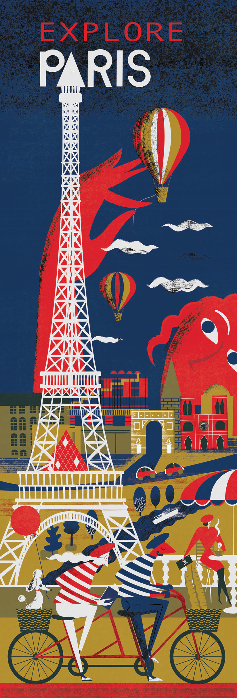 Explore Paris, Let's Explore, Paris, City Breaks, France,Tourism, Illustration, Poster Illustration,