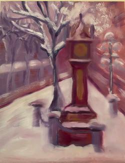 Gastown Clock in Snow
