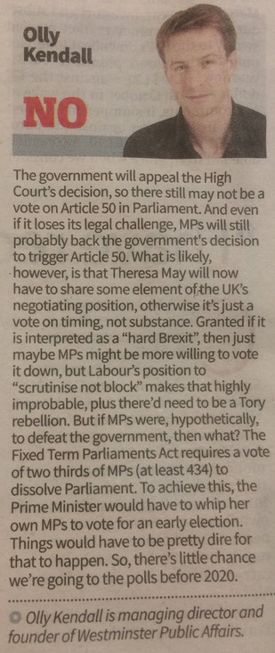 WPA Comms MD argues in today's City AM why we won't have an early election...
