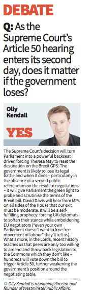 The Government will lose its Article 50 appeal - WPA's MD Olly Kendall writing in today's Ci