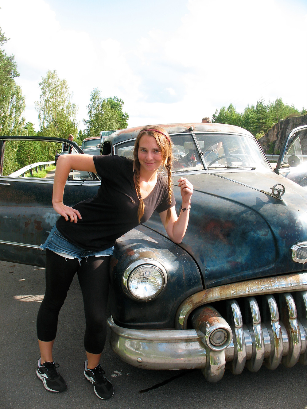 Valerie and 1947 Buick car