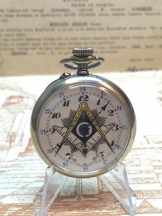 Antique Silver Masonic Pocket Watch