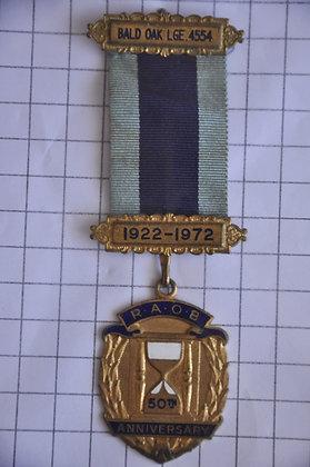 R.A.O.B 50th ANNIVERSARY 1922-1972 / 4x12cm