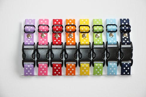 Set of 8 polka dot puppy id collars