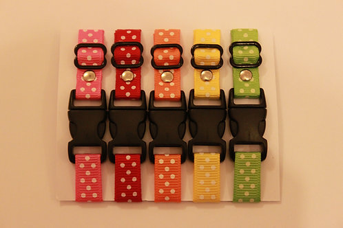 Set of 5 polka dot puppy id collars
