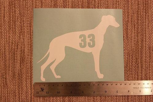 3 x Wheelie Bin Numbers - Greyhound/Whippet Design