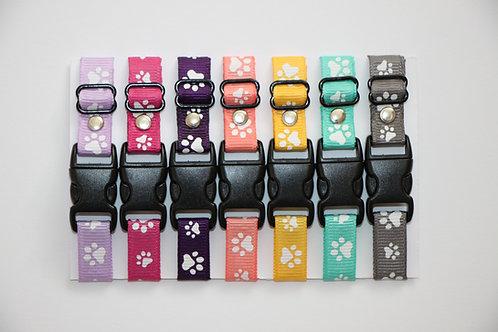 Set of 7 paw print puppy id collars