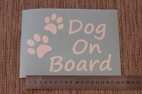 1 x Dog on Board and Paw Prints Car Window Stickers