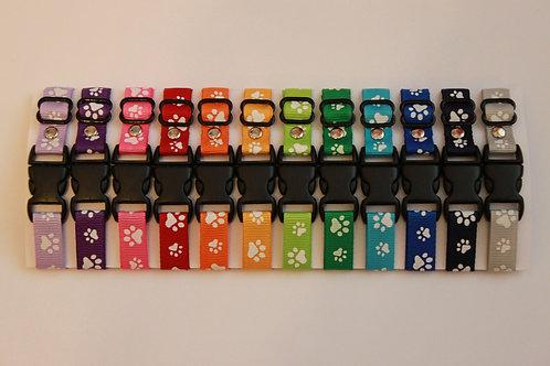 Set of 12 paw print puppy id collars