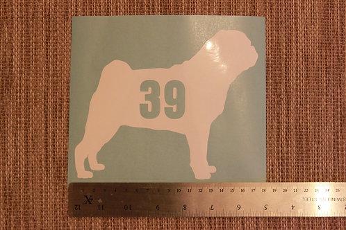 3 x Wheelie Bin Numbers - Pug Design