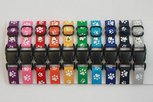 Set of 10 paw print puppy id collars