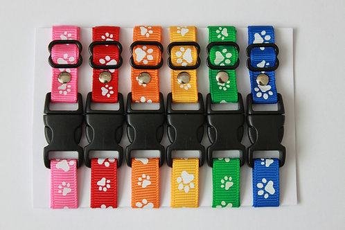 Set of 6 paw print puppy id collars - Size 5 - 8 inches