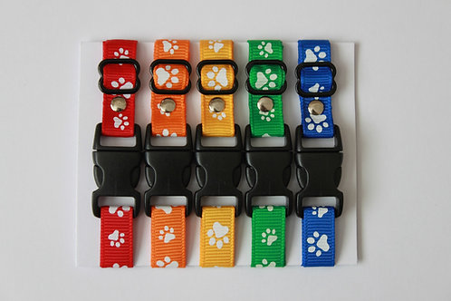 Set of 5 paw print puppy id collars