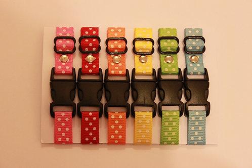 Set of 6 polka dot puppy id collars