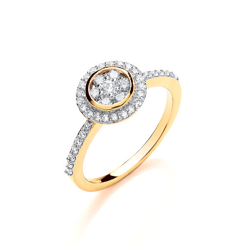 18ct Yellow Gold Round Top with Diamonds Ring