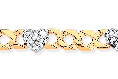 Yellow Gold Casted Women's Heart Bracelet