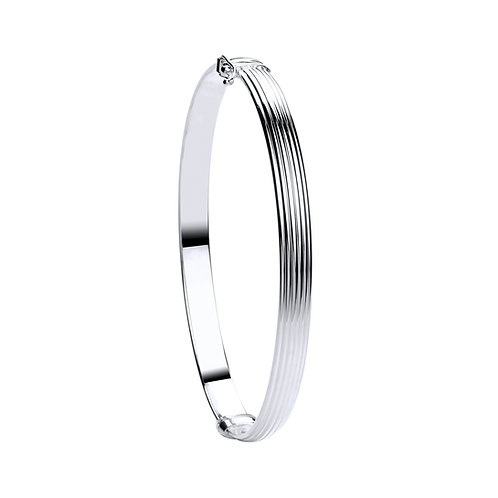 White Gold Hollow Ribbed Bangle