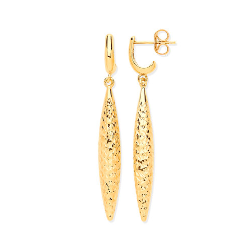 Yellow Gold Hollow Drop Diamond Cut Earrings
