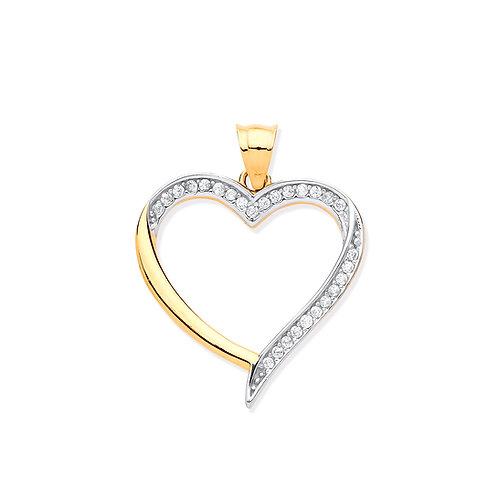 Yellow & White Gold Cubic Zirconia Heart Pendant