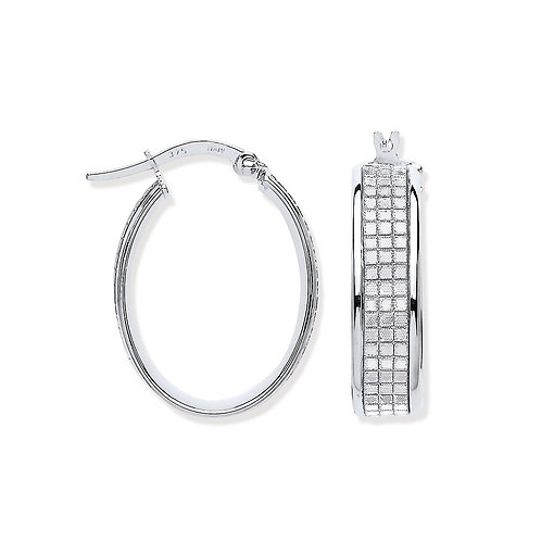 White Gold Moondust Oval Hoop Earrings