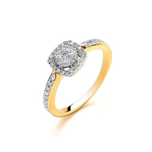 18ct Yellow Gold Square Halo Diamond Ring