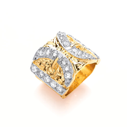 Yellow Gold Cubic Zirconia Buckle Ring