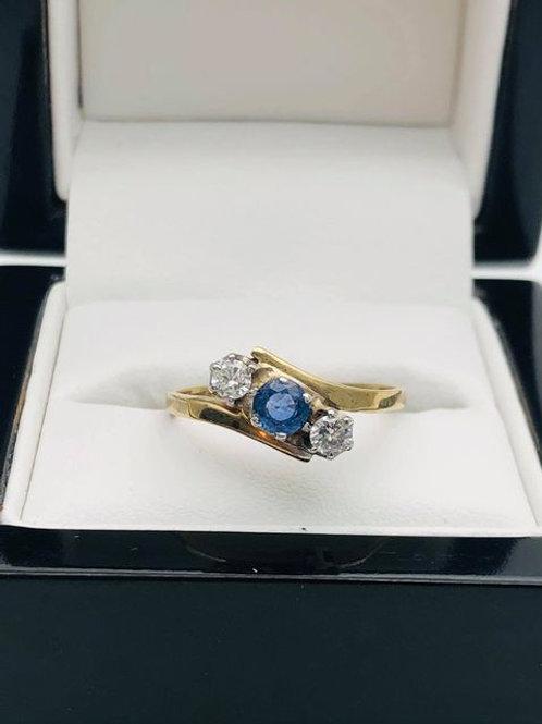 9ct Ceylon Sapphire Diamond Ring