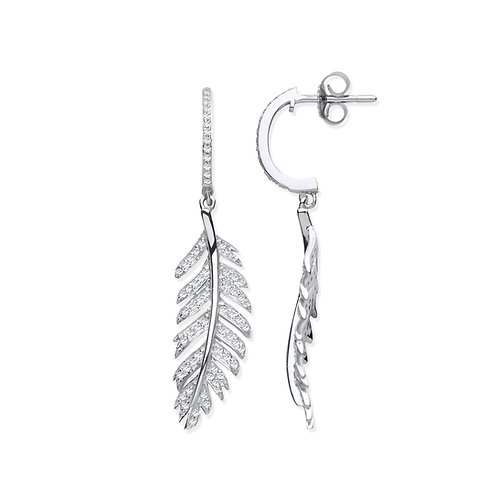 9ct White Gold Feather Diamond Earrings