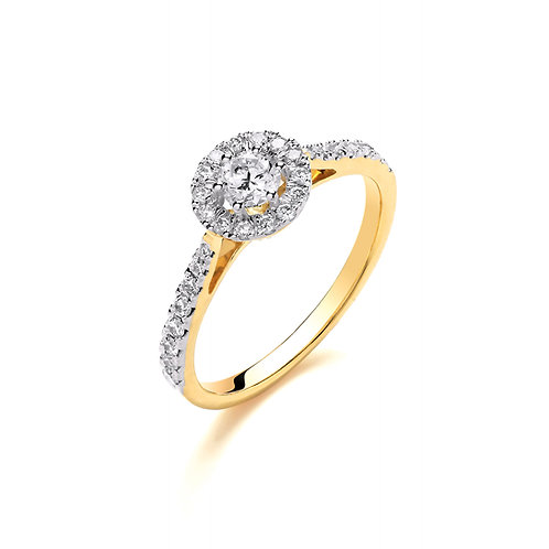 18ct Yellow Gold Halo Diamond Ring