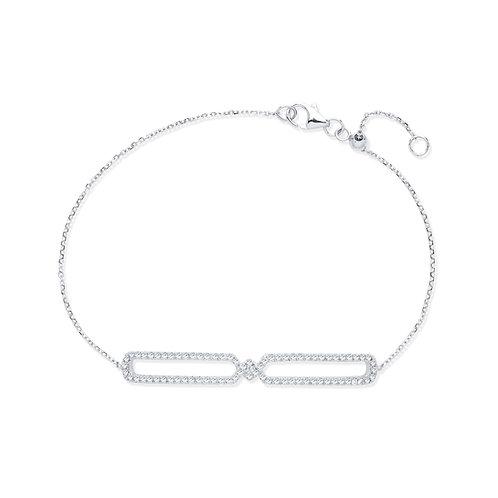 9ct White Gold Friendship Diamond Bracelet
