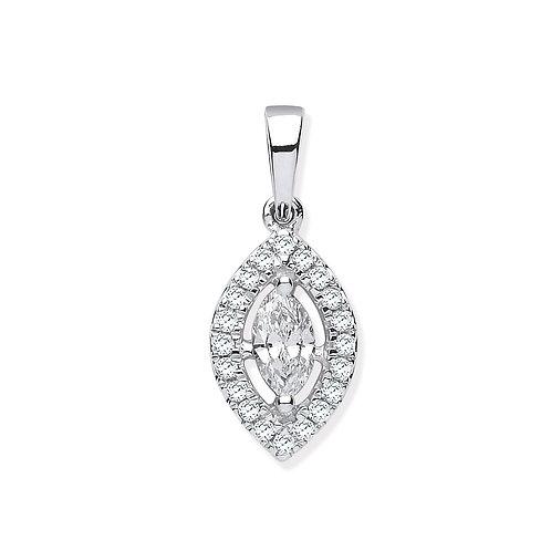 18ct White Gold Marquise Diamond Pendant