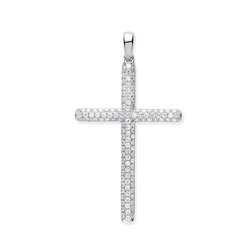 18ct White Gold Diamond Set Cross