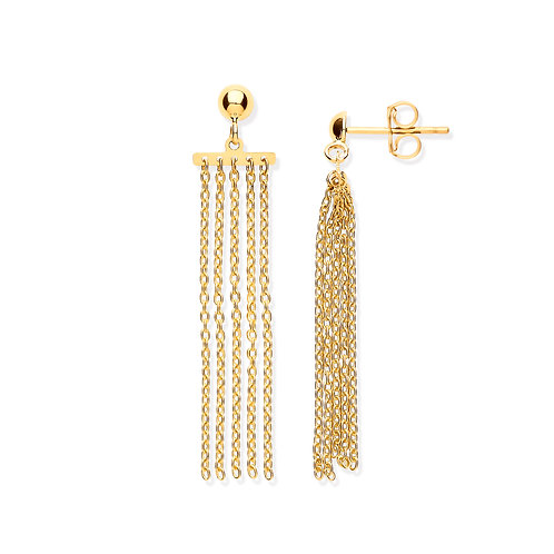 Yellow Gold Tassel Drop Earrings