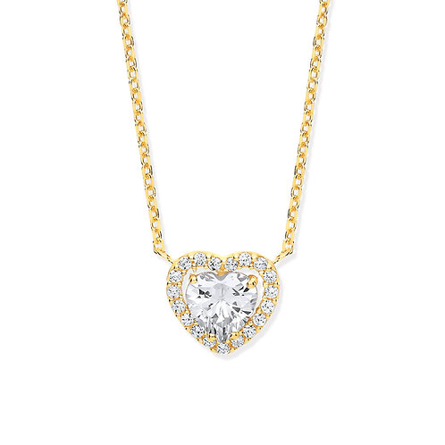Yellow Gold Heart Halo CZ Pendant