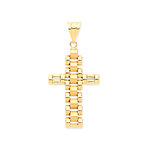 Yellow Gold Rolex-Style Link Cross