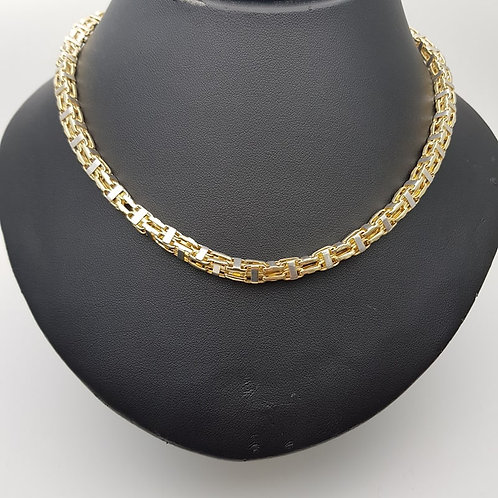 9ct Yellow and White gold cage chain